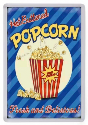 Hot Buttered Popcorn Fridge Magnet. Retro Cinema Sign. Americana. USA